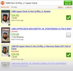 Screenshot showing using checkboxes to get worth of baseball card.