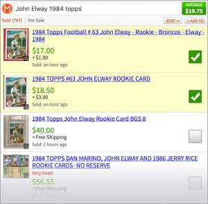 Screenshot showing checkboxes for value of football card