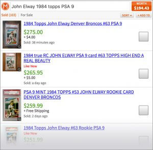 Screenshot showing worth of graded football card.
