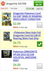 Using checkboxes to refine estimate of Pokemon card.